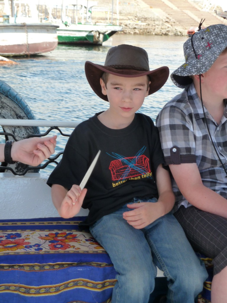 Declan shows off his bone knife in Aswan