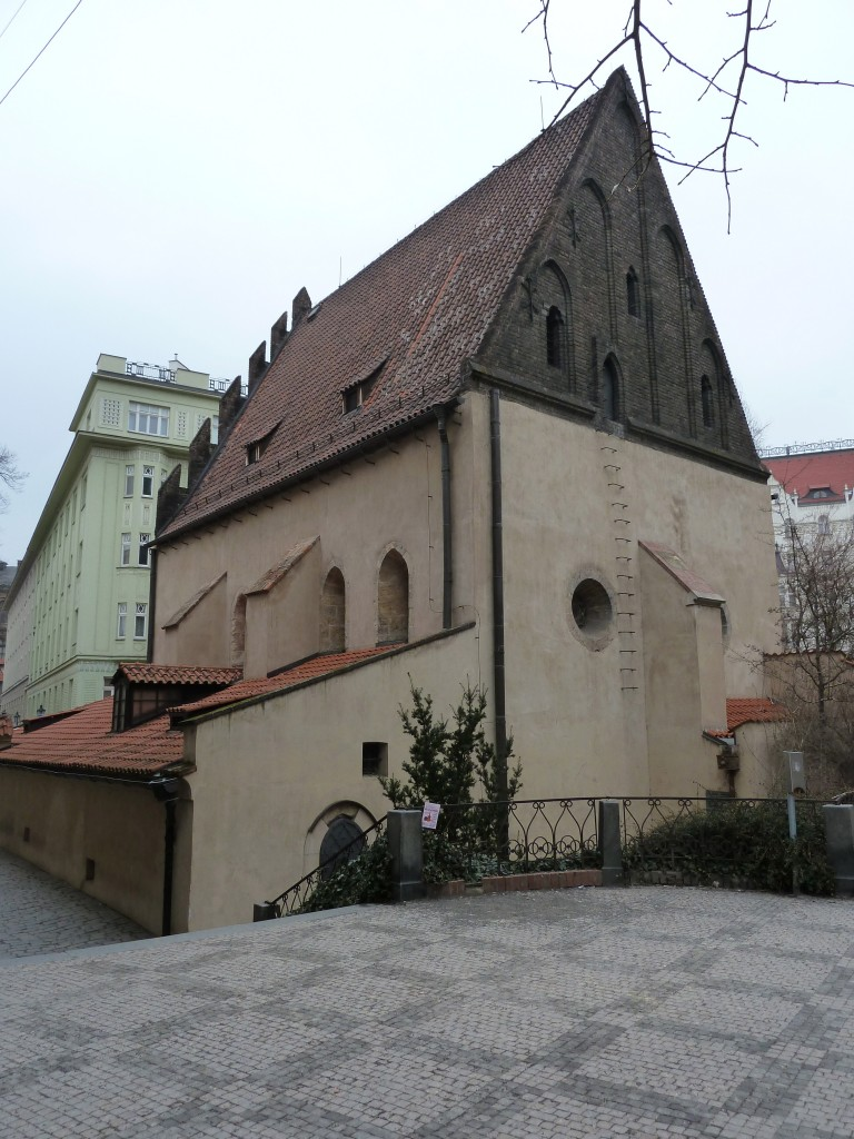 The Old New Synagogue, with a ladder leading up to the attic