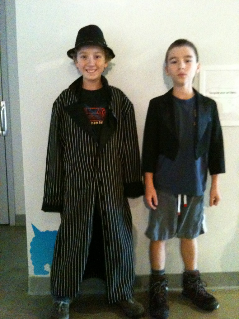 Callum and Declan dressed up to perform