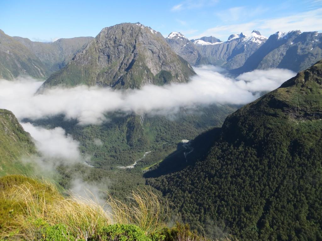 View to cloud-ringed peak.