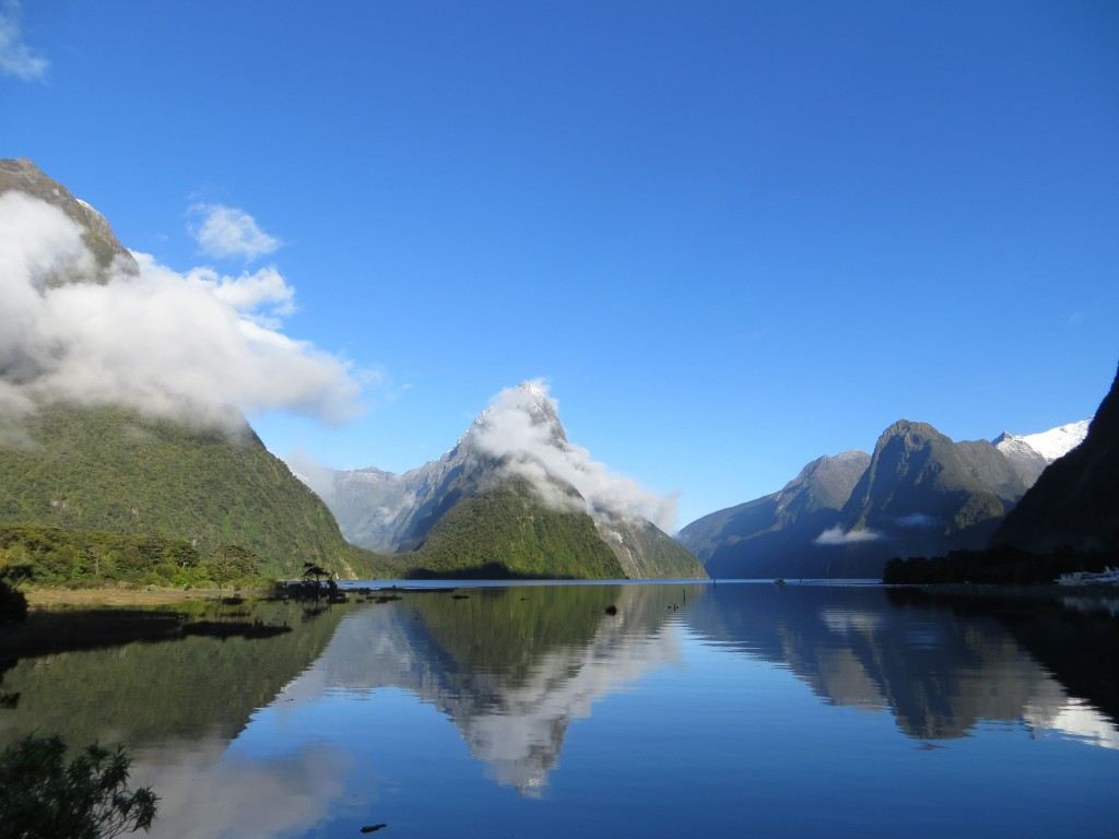 Mirrored mountains at Milford Sound.