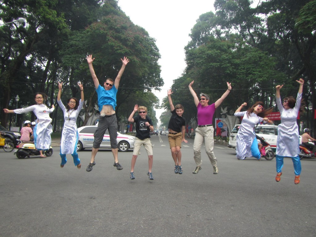 Jumping for joy in HCMC.