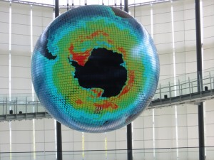 The signature exhibit of Miraikan, a gigantic globe with projections of the earth