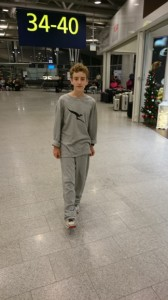Cal in his Qantas PJs.