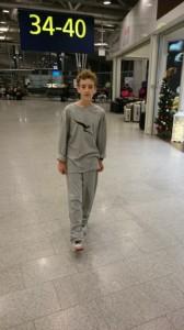 Cal in his Qantas PJs.