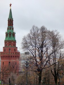 Tower on the Kremlin Walls with Soviet Star.