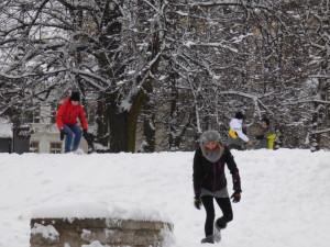 Snow battle commences.