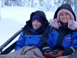 On the reindeer sleigh.