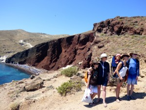 Walking to the Red Beach.
