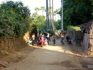 Riding through villages.